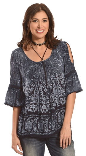 Bila Women's Cold Shoulder with Flared Sleeves Top , Navy, hi-res