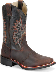 Double H Men's Roper Western Boots - Square Toe, Brown, hi-res