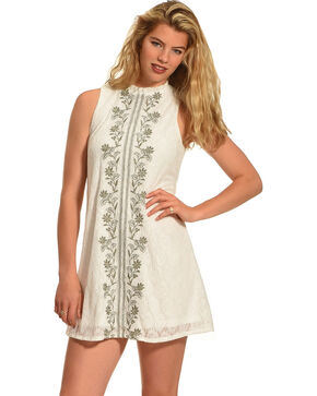 Polagram Women's Embroidered Sleeveless Dress , White, hi-res