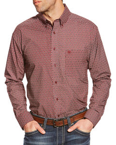 Ariat Men's Caidan Printed Long Sleeve Shirt, Red, hi-res