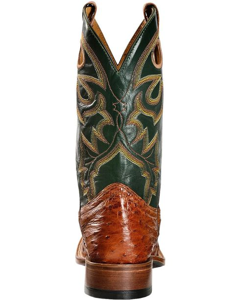 Boulet Full Quill Ostrich Cowboy Boots - Wide Square Toe, Brandy, hi-res