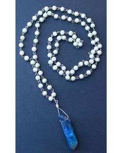 """2 Queen B's Women's Blue 36"""" Quartz Pendant Necklace , Blue, hi-res"""