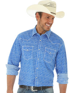 Wrangler 20X Men's Long Sleeve Floral Snap Button Shirt, Blue, hi-res