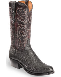 Lucchese Men's Black Nathan Smooth Ostrich Western Boots - Round Toe , Black, hi-res