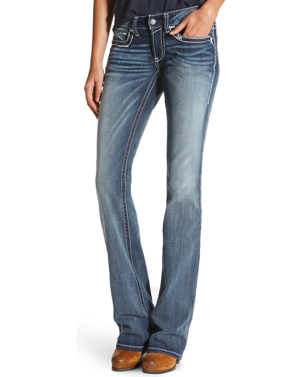 Ariat Real Women's Mid Rise Multi Stitch Moonstone Boot Cut Jeans, Blue, hi-res