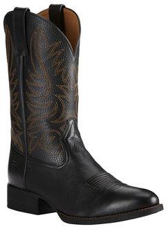Ariat Men's Black Heritage Hickok Cowboy Boots - Medium Toe, , hi-res