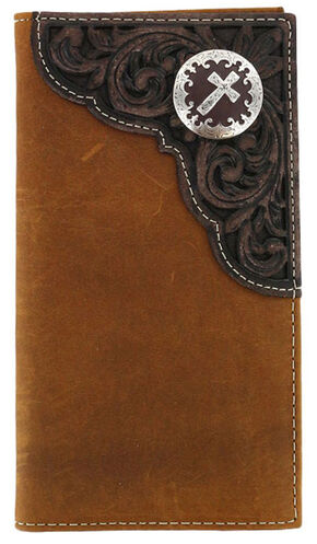 Cody James Men's Tooled Cross Concho Rodeo Wallet, Brown, hi-res