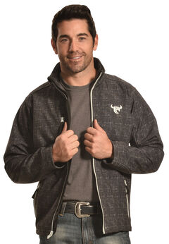 Cowboy Hardware Men's Black Softshell Jacket, Black, hi-res