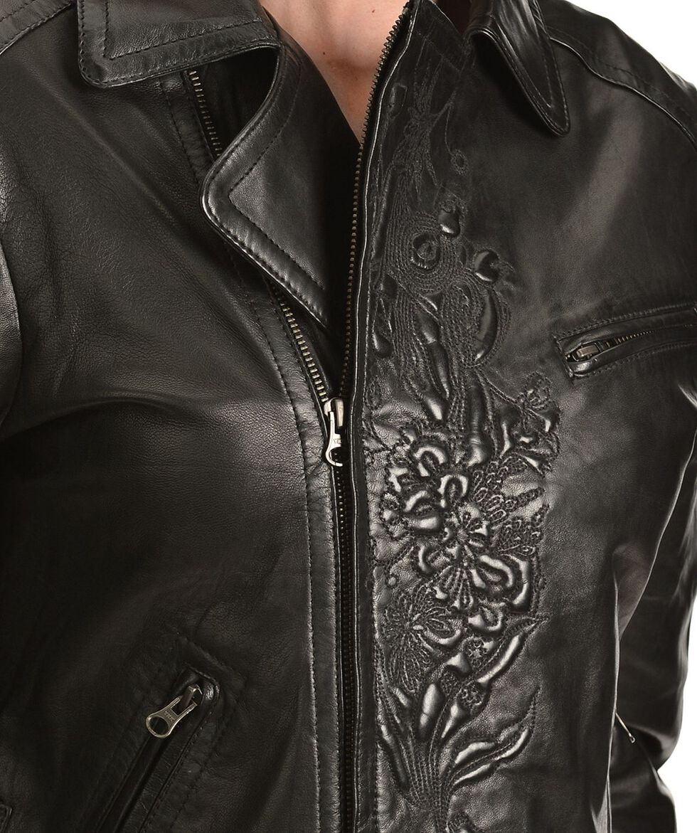 Scully Embossed Leather Jacket, Black, hi-res