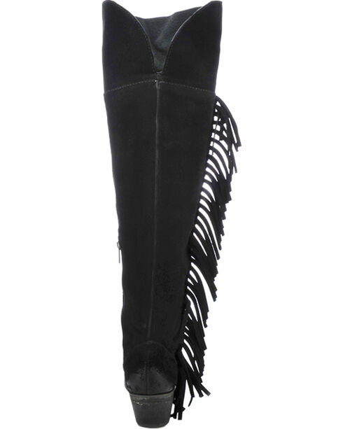 Circle G Over-the-Knee Tall Fringe Cowgirl Boots - Round Toe, Black, hi-res
