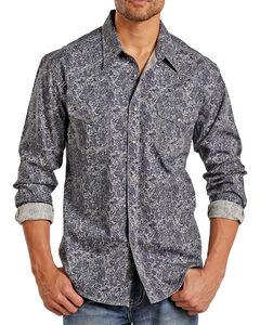 Rock & Roll Cowboy Men's Paisley Long Sleeve Shirt, Grey, hi-res