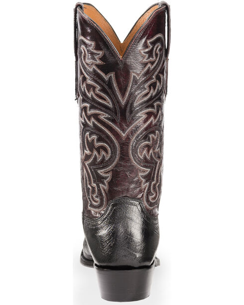 Lucchese Men's Handmade Black Nathan Smooth Ostrich Western Boots - Snip Toe , Black, hi-res
