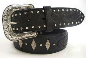 Roper Fancy Concho Tooled Billets Black Leather Belt, Black, hi-res