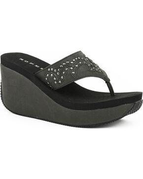 Roper Women's Black Studded Faux Leather Wedge Sandals , Black, hi-res
