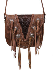 Trinity Ranch Women's Coffee Fringe Snap and Zip Messenger Bag , Taupe, hi-res