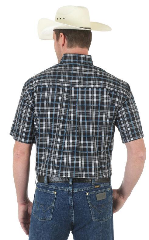Wrangler George Strait Black Plaid Western Shirt , Blk/white, hi-res