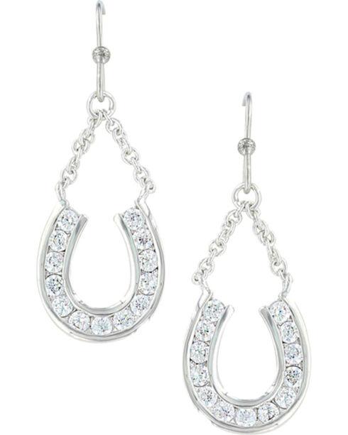 Montana Silversmiths Women's Hanging Horseshoe Basket Earrings , Silver, hi-res