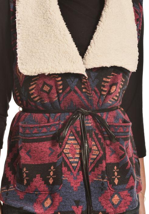 Derek Heart Women's Aztec Sherpa Belted Vest , Navy, hi-res