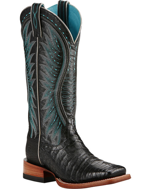 Ariat Vaquera Caiman Belly Cowgirl Boots - Square Toe, Black, hi-res