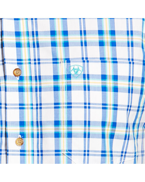 Ariat Men's Blue Isaac Long Sleeve Shirt , Blue, hi-res