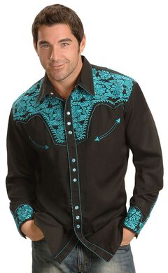 Scully Turquoise-hued Embroidery Retro Western Shirt, Black, hi-res