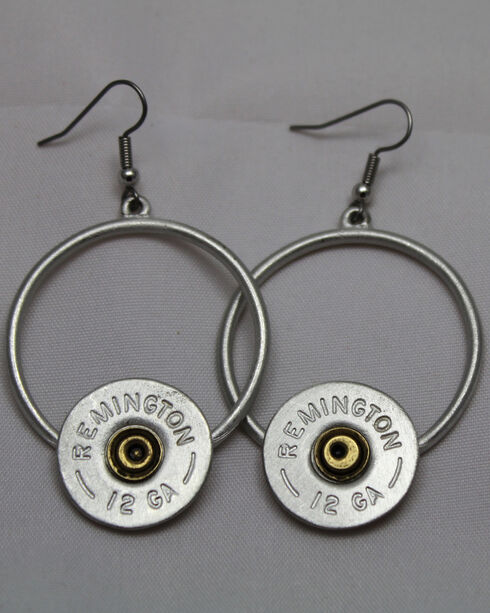 SouthLife Supply Florance Shotshell Circle Dangle Earring in Antique Silver, Silver, hi-res