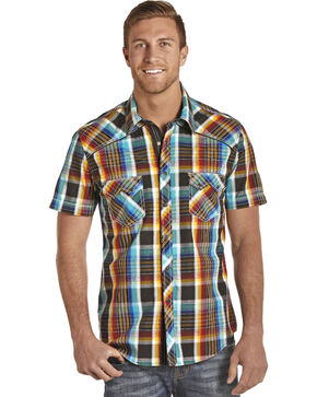 Rock & Roll Cowboy Men's Crinkle Wash Serape Plaid Shirt, Multi, hi-res