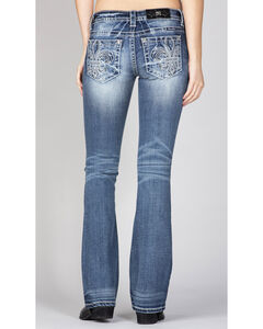 Miss Me Women's Simple Fleur De Lis Jeans - Boot Cut , Indigo, hi-res