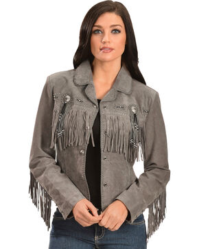 Scully Women's Grey Western Suede Fringe Jacket - Extended Sizes , Grey, hi-res