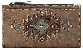 American West Women's Distressed Brown Foldover Snap Closure Wallet , Distressed, hi-res