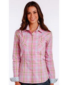 Rough Stock by Panhandle Women's Pink Pershing Plaid Shirt , Pink, hi-res