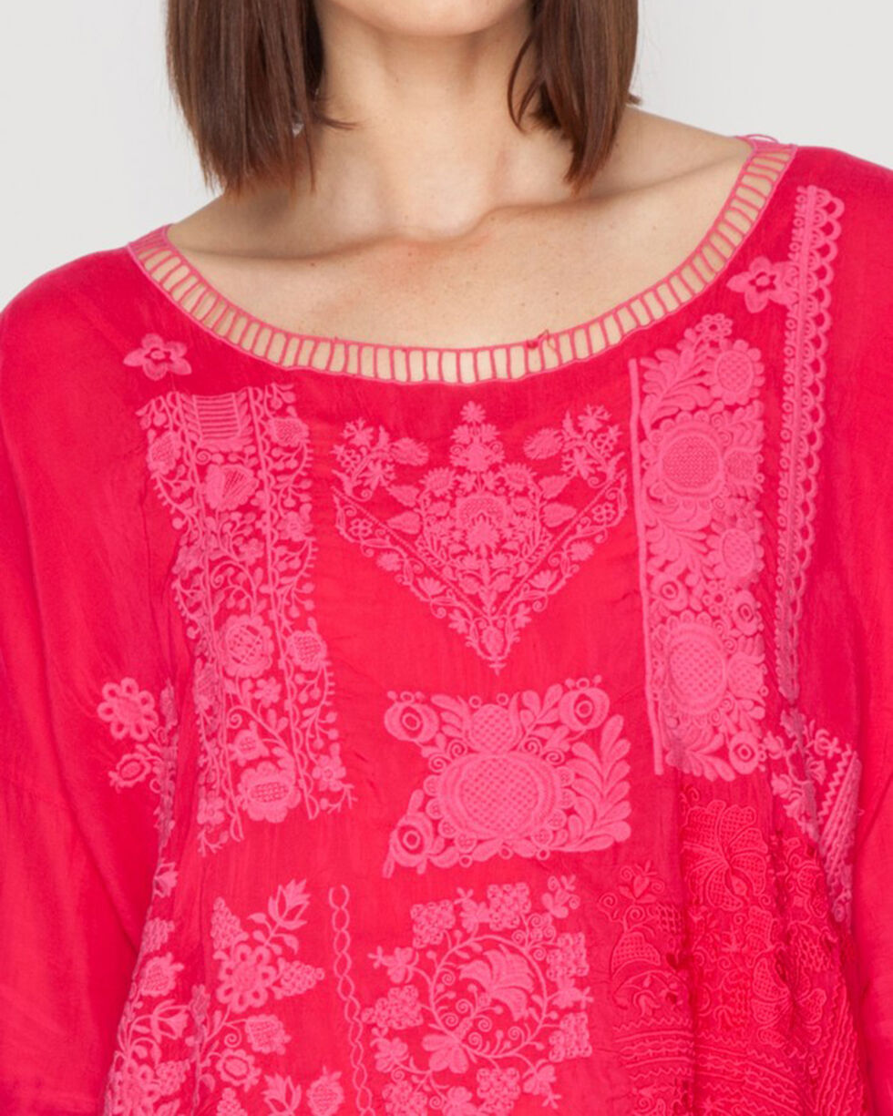 Johnny Was Women's Puzzle Scallop Top, Berry, hi-res