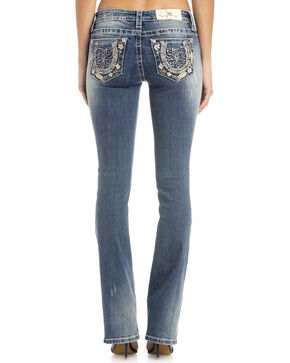 Miss Me Women's Try Your Luck Mid-Rise Boot Cut Jeans, Indigo, hi-res