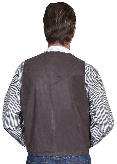 Scully Lambskin Leather Western Vest, Brown, hi-res