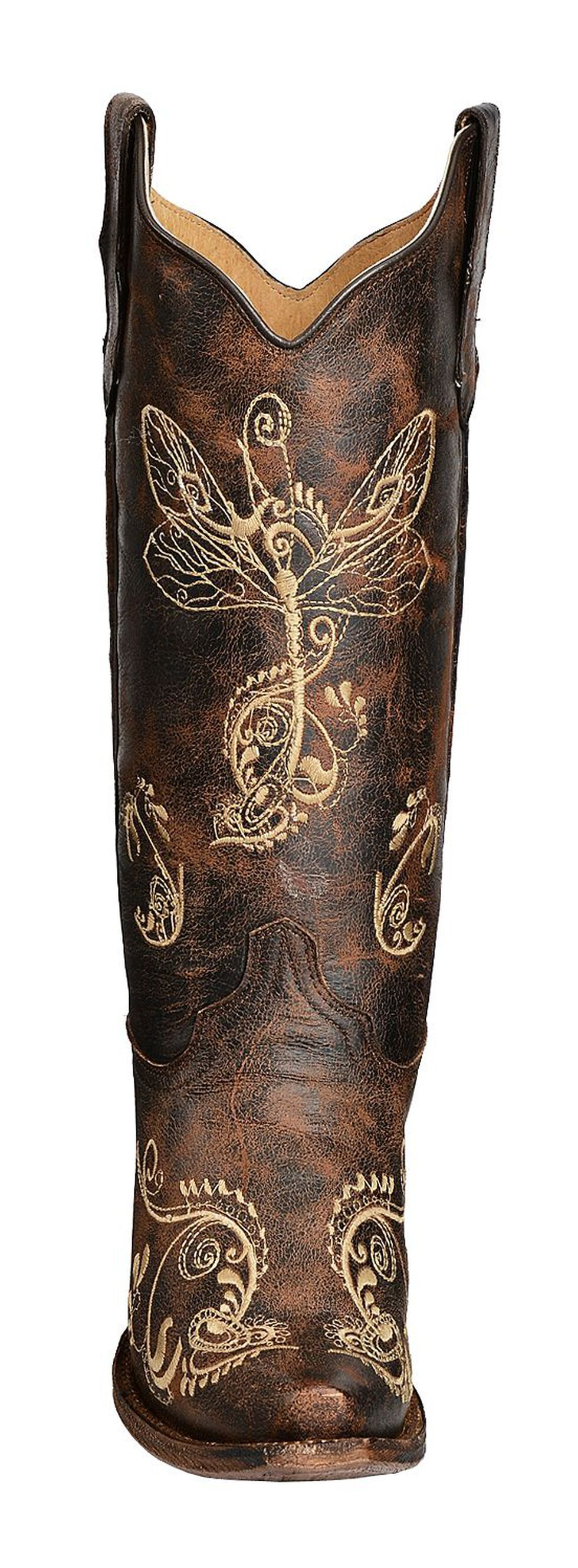 Circle G Distressed Bone Dragonfly Embroidered Boots - Snip Toe, Brown, hi-res