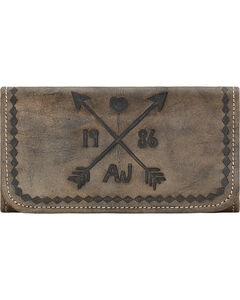 American West Cross My Heart Rustic Brown Ladies Tri-Fold Wallet , , hi-res
