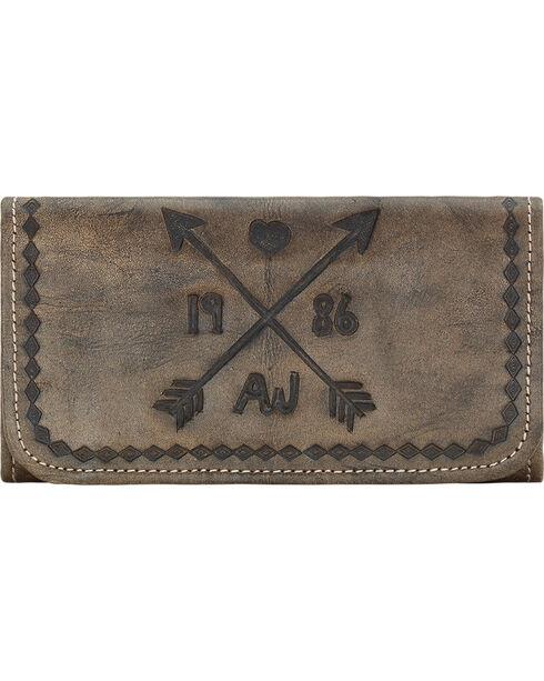 American West Cross My Heart Rustic Brown Ladies Tri-Fold Wallet , Rustic Brn, hi-res