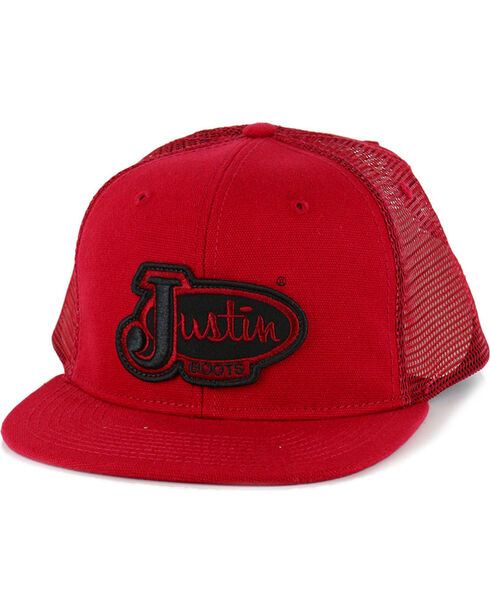 Justin Men's Logo Patch Ball Cap, Red, hi-res