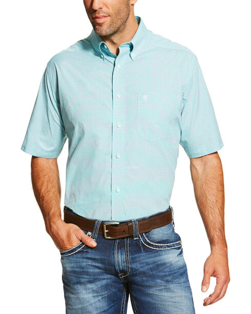 Ariat Men's Aqua Finnegan Short Sleeve Performance Shirt , Aqua, hi-res