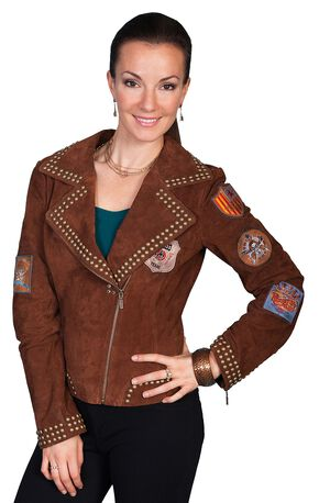 Scully Studded Patch Suede Jacket, Brown, hi-res