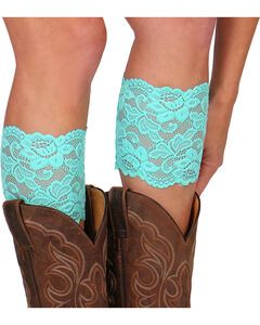 Shyanne Women's Lace Stretch Boot Cuffs, Turquoise, hi-res