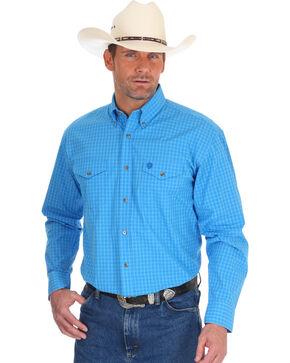 Wrangler Men's George Strait Blue Plaid Western Shirt , Blue, hi-res