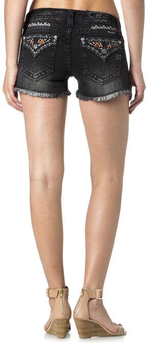Miss Me Women's Embroidered Flap Pocket Black Denim Shorts, Black, hi-res