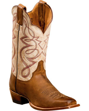 Justin Women's Two Toned Embroidered Western Boots - Square Toe, Brown, hi-res