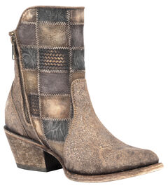 Corral Cognac Patchwork Cowgirl Booties - Round Toe , , hi-res