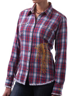 Barn Fly Women's Headdress Flannel Plaid Shirt, Red, hi-res