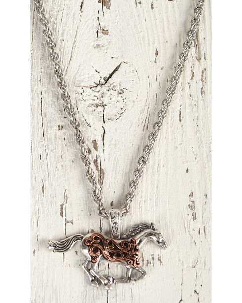 Shyanne Women's Filigree Running Horse Necklace, Rust Copper, hi-res