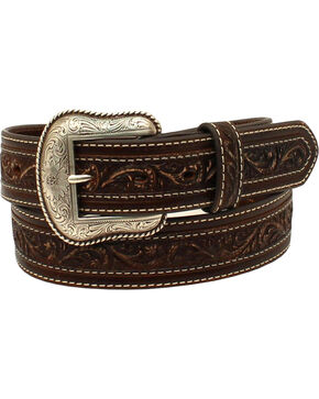 Nocona Men's Embossed Cross Overlay Belt , Brown, hi-res