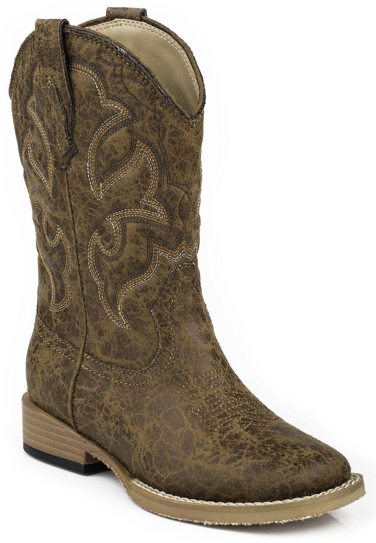 Roper Children's Distressed Faux Leather Cowboy Boots - Square Toe, Tan, hi-res