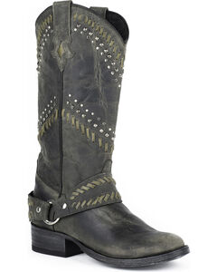 Stetson Shiloh Cowgirl Boots - Round Toe, Black, hi-res